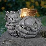 Exhart Solar Cradled Angel Cat Memorial Garden Statue, 8 by 5 Inches