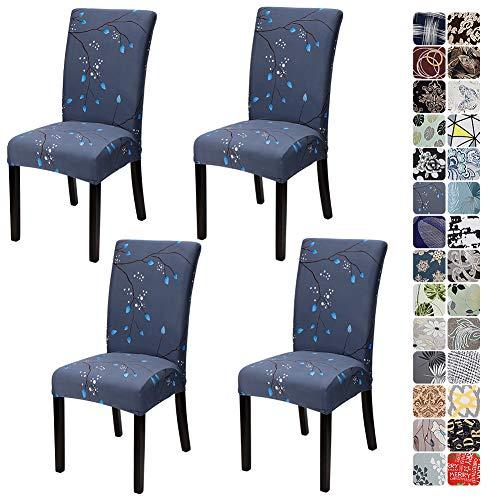 JOTOM Stuhlhussen Universal Stretch Stuhlbezug Elastische Moderne Stuhl Hussen Set Abnehmbare Dekoration Stuhlabdeckung für Esszimmer Party Hotel Restaurant Deko (Blau Blätter, 4er Set)