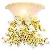 YIXIN2013SHOP Lámpara de Pared Resina Creativa Lámpara de Pared Diseño Retro Grabado 3D Base de Flor de ángel con Pantalla de Vidrio for Sala de Estar Dormitorio Hotel Junto a la Cama Luces de Pared