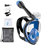 Powerole Snorkel Mask Full Face for Adults, Foldable Full Face Snorkeling Mask with Mount for Gopro, 180 Degree Panoramic Viewing Upgraded Scuba Dive Mask with Newest Safety Breathing System
