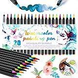 Rotuladores punta de pincel, 20 Bolígrafos de Acuarela y 1 Agua Pincel para Manga Bullet Journal Caligrafía y Dibujos Coloreado Fabricar Tarjetas