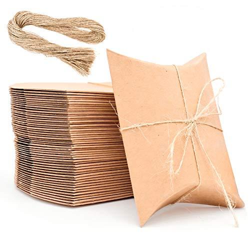 Klein Geschenkschachtel,Kraftpapierbox mit Juteschnur,Vintage Geschenk Box für Hochzeit(100stk)