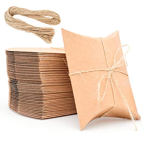 Caja de regalo pequeña, caja de papel kraft con cordón de yute, caja de regalo...