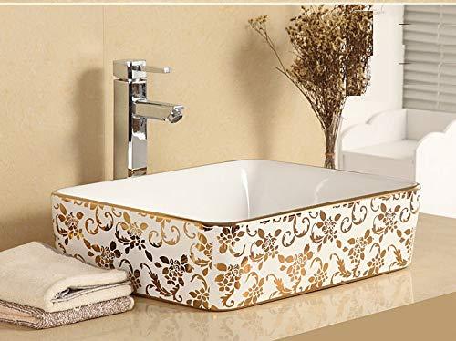 InArt Lavabo rectangular de cerámica para baño, color dorado blanco, lavabo para baño modernos/Tradicional, Sink,lavabo sobre encimera, 19' x 15' x 5' pulgadas