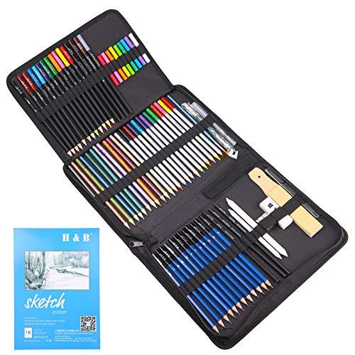 juehu 74 Buntstifte Set,Zeichnen Lernen Bleistifte Set Sketching für Farbmischung Malen und Skizzen hochwertige Künstlerstifte malset und schönen Mischeffekten mit Wasser zeichnen für Erwachsene