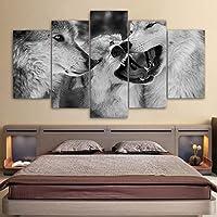 写真家の装飾壁アートモジュラーリビングルーム5パネル野生動物オオカミHDプリントモダンキャンバス絵画ポスター-30x40x230x60x230x80cmx1フレームなし