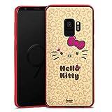 DeinDesign Silikon Hülle transparent rot kompatibel mit Samsung Galaxy S9 Hülle Schutzhülle Hello Kitty Merchandise Fanartikel Leo