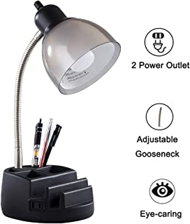 Organizer Desk Lamp, Tablet Stand Book Gooseneck Organizer Task Lamp with Holder and 2 Power Outlet, Clear Black