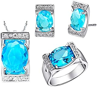 XYong Latest Fashion Luxury 18K Wedding Fashion Jewelry Set Zircon Jewelry Sets T094-9# (Purple,9)
