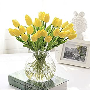 Shot--In 10 Pcs Real Touch Latex Artificial Tulip Flowers Wedding Fake Flower Bouquets Garden Decor (Yellow)