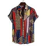 Camisa Hawaiana Hombre,Blusa con Botones De Solapa Casual Boho Rayas Geométricas Impreso Estilo Hawaiano Transpirable Suelto Vintage Aloha Manga Corta para Hombre Mujer Vacaciones En La Playa, L