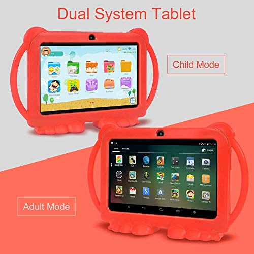 Xgody T702 7 Inch HD Kids Tablet PC Quad Core Android 8.1 1GB RAM 16GB ROM Touch Screen with WiFi Pre-Loaded 3D Game Dual Camera, GMS Certified Kids-Proof Toddler Tablets Red