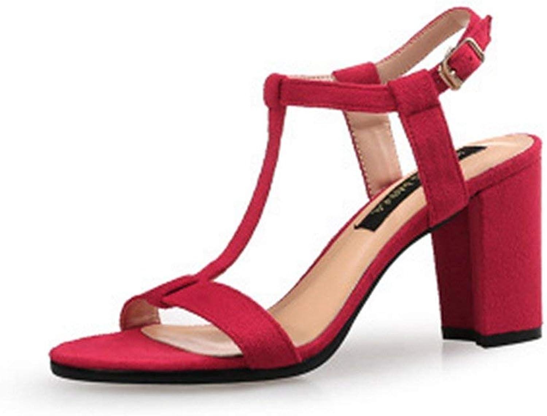 Beautiful - Fashion Women's Open Toe Chunky Block High Heel Sandals T-Strap Ankle Strap Platform Suede Dress Pumps shoes