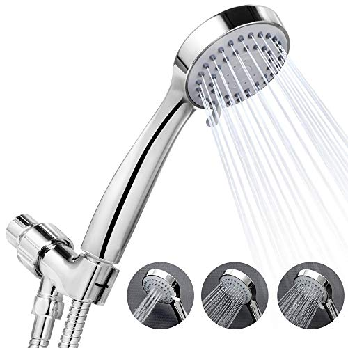 High Pressure 3-Setting Handheld Shower Head Wall Type Best for Massage Rainfall Spa - Easy Installation Bathroom Shower Sprayer,Sliver