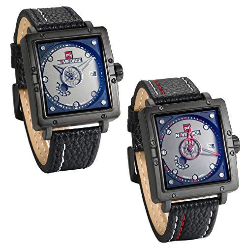 JewelryWe heren uniek horloge analoog kwarts kalender 30m waterdicht leer band sporthorloge met vierkante wijzerplaat wit/rood