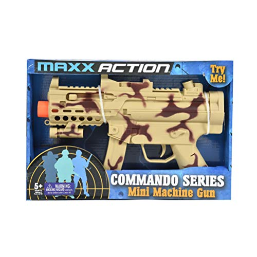 Sunny Days Entertainment Mini Machine Gun Toy – with Realistic Sounds and LED Lights |Military Solider Desert Camo Role Play Toy | Costume Accessory for Kids – Maxx Action (10826)