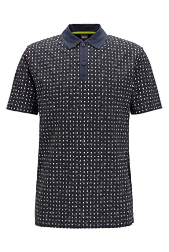 Photo of BOSS Mens Pepol Cotton-piqué Polo Shirt with All-Over Print Dark Blue