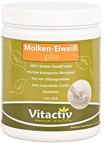 MOLKEN-EIWEISS PLUS – Molken-Eiweiß-Isolat, für Figur und Sport, das Hochwertigste aus Milch, mit Vitamin B3 und B6, für Energie, Nerven, Psyche, Herz und Immunsystem (500g Pulver)