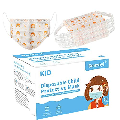 Kids Face Masks 50Pcs Disposable Face Mask, Perseonal Protection 3 Ply Disposable mask for Air Pollution Personal Protective Mouth Indoor and Outdoor Use