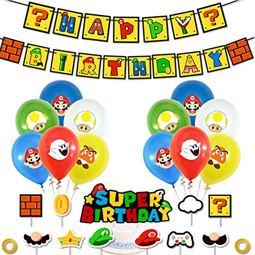 SUNSK Kit de Globos de Látex Redondo Banner de Happy Birthday adorno de torta para Super Mario Decoración para Fiestas de Cumpleaños 24 Piezas