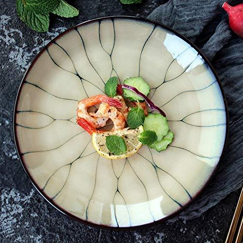 YAeele Tazón Creativo Placa de cerámica, Ensalada de Carne Cena de Placa Plana Placa de la Fruta Platos Plato japonés Ramen Restaurante Cubiertos Inicio de la Ronda