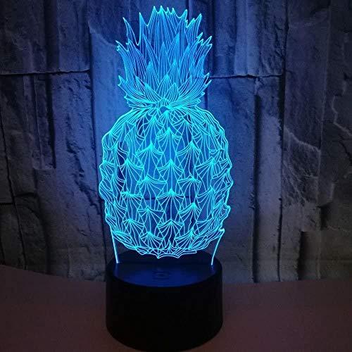 Baby Spielzeug Piña luz decorativa 16 colores 3D noche escritorio lámpara con cable USB increíble ilusión óptica LED decoración del hogar regalos