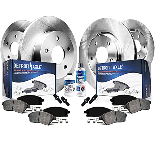 "Detroit Axle - FRONT 12.60""(320mm) & SOLID REAR Brake Kit Rotors & Ceramic Brake Kit Pads w/Hardware"