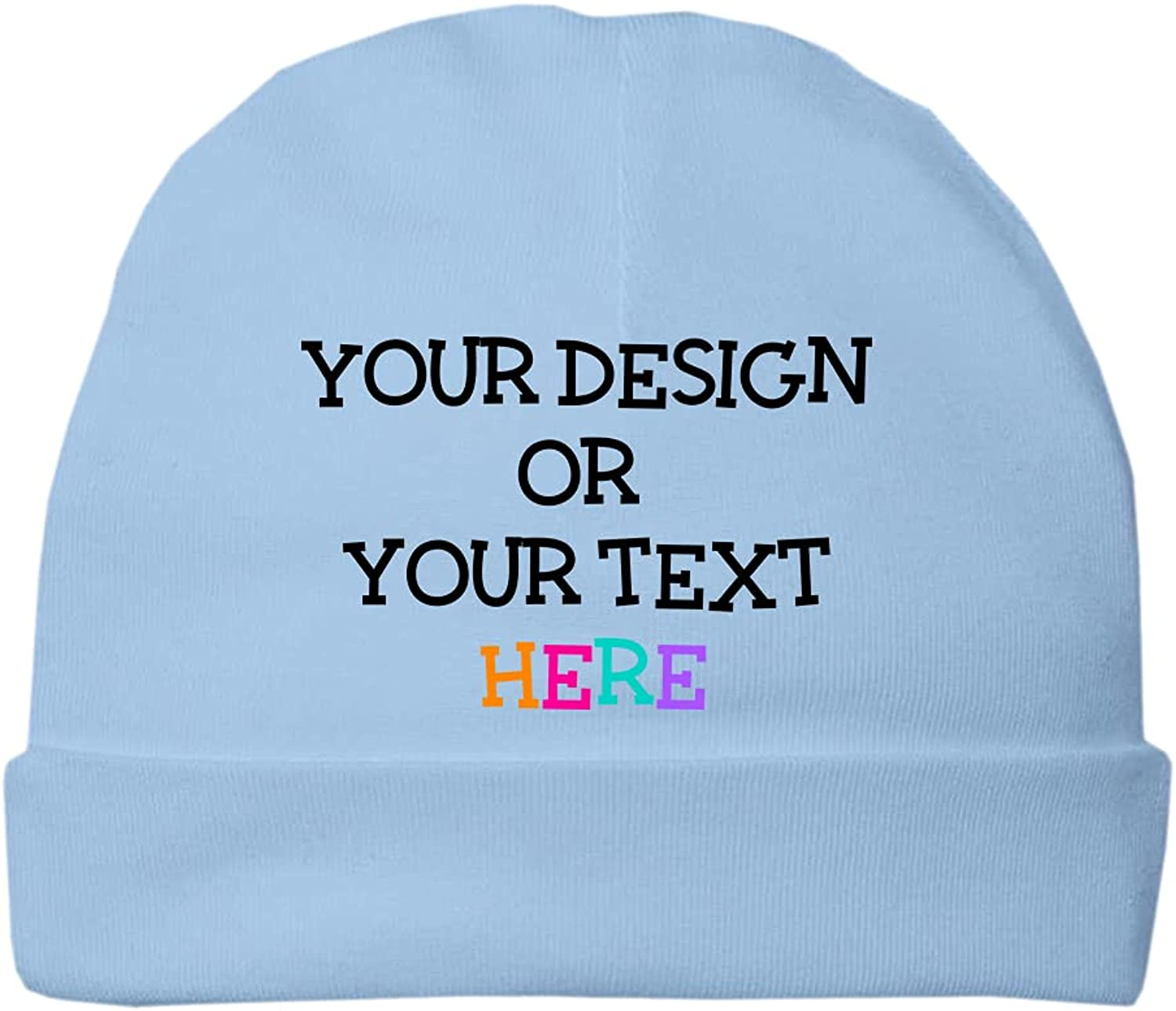 Awkward Styles Personalized Baby Beanie Cap for Boys Girls Newborn Hat 100% Cotton Customized Baby Name Front Print Only