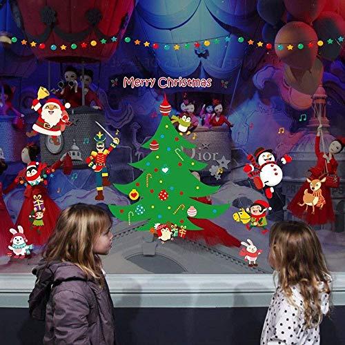 NLRHH 2 unids/New Window Pegatinas Personalizadas VE Adornos de Navidad Santa Claus Sala de Estar Dormitorio Pegatinas de Pared Protección del Medio Ambiente DIY (Color: 2, Tamaño: 60 * 90 cm) Peng