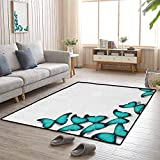 Turquoise Living Room Area Mat Rug Butterflies Morphs Pattern Spring Sunny Day Warm Weather Free Enjoyment Children Bedroom Rugs 6'6x9'10 Black Turquoise