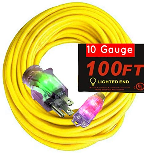 100 ft 10-Gauge Grounded 15-Amp Outdoor Extension Cord 100 ft Contractor Grade 10 Gauge 100 ft Power Extension Cord 10/3 Plug 1875 watts (100 ft Yellow Extension Cord 10/3 Gauge)