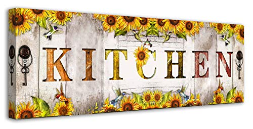 Rustic Farmhouse Kitchen Wall Decor Sunflower Wall Art Inspirational Motto Canvas Prints Kitchen Signs Wall Decor Vintage Artwork Decoration for Bedroom,Living Room,Office Home Decor (6 X 17 Inch)