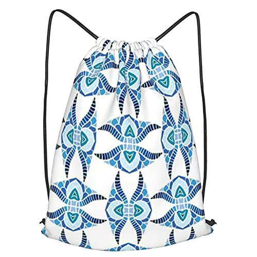 huagu Mochila Con Cordones Unisex,Seamless Illustrated Pattern Made Of Abstract Blue Elements,Bolso con Cordón Impermeable para Nadar/Surfear/Viajar/Hacer Senderismo/Yoga/Deportes