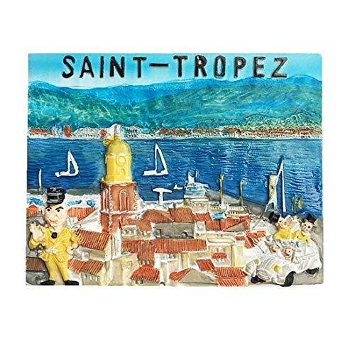 Aimant de réfrigérateur 3D Saint Tropez Var France pour la maison et la cuisine - Aimant de réfrigérateur