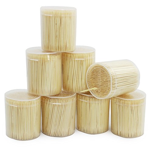 com-four® 4000x Zahnstocher aus Holz - Zahnhölzer für den täglichen Gebrauch - Toothpicks - hölzerne Zahnstecher - 6,3 cm (4000 Stück - Set4)
