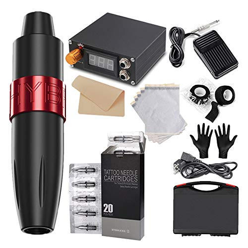 KKTECT Stylo de tatouage rotatif Rotary Tattoo Pen Machine Kit complet de machine à tatouer Cartouches 20pcs...
