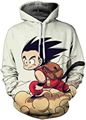 FLYCHEN Sudadera con Capucha para Hombre con 3D Digital Impreso Dragon Ball Goku Super Saiyan Azul Men's Hoodie Hip Hop - Bolsa - M