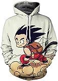 FLYCHEN Sudadera con Capucha para Hombre con 3D Digital Impreso Dragon Ball Goku Super Saiyan Azul Men's Hoodie Hip Hop - Bolsa - L