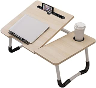 Laptop Desk,Deakj Bamboo Bed Table Adjustable Large Used For Reading Learn Laptop Use, Wood Color (Color : Wood, Size : 60...
