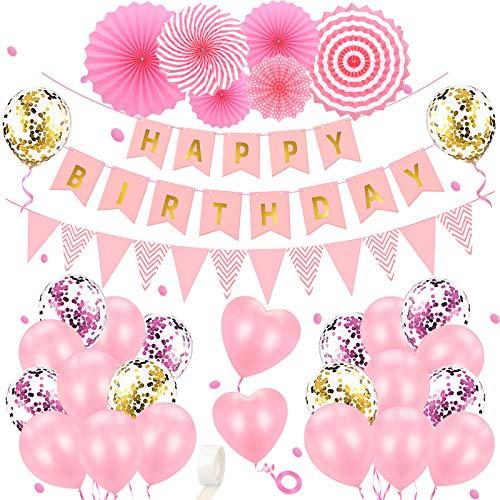 Geburtstagsdeko Mädchen Party Deko Geburtstag Ballons Rosa Geburtstag Dekoration Set mit Happy Birthday Banner, Luftballons, Papierfächer Partydekoration für Frauen Freundin Tochter Kindergeburtstag