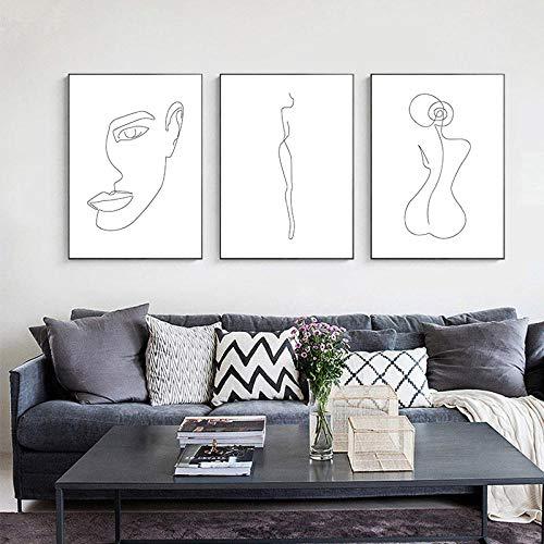 Swallow Kunstdruck, Leinwand, für Damen, Körper, Gesicht, Abstrakt, Schwarz, Weiß, nordisch, Wandkunst, Leinwand, Dekoration, Fotos, 50 x 70 cm, 3 Stück ohne Rahmen