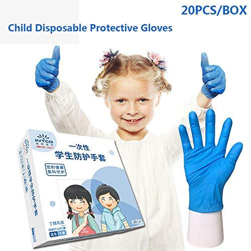 WLKK Guantes de látex Desechables de 20 Piezas/Caja, Guantes de látex Desechables para el hogar para niños, niñas, Guantes de nitrilo espesados de tamaño pequeño