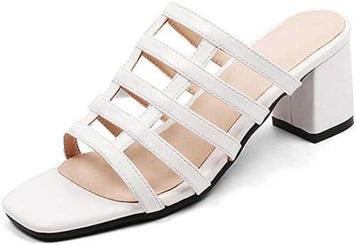 Sandales Mode Mode Les Les dames à Talons Hauts épais Tête Carrée à Bout Ouvert Chaussures Simples Pantoufles De Plage (Couleur   B, Taille   40 EU)