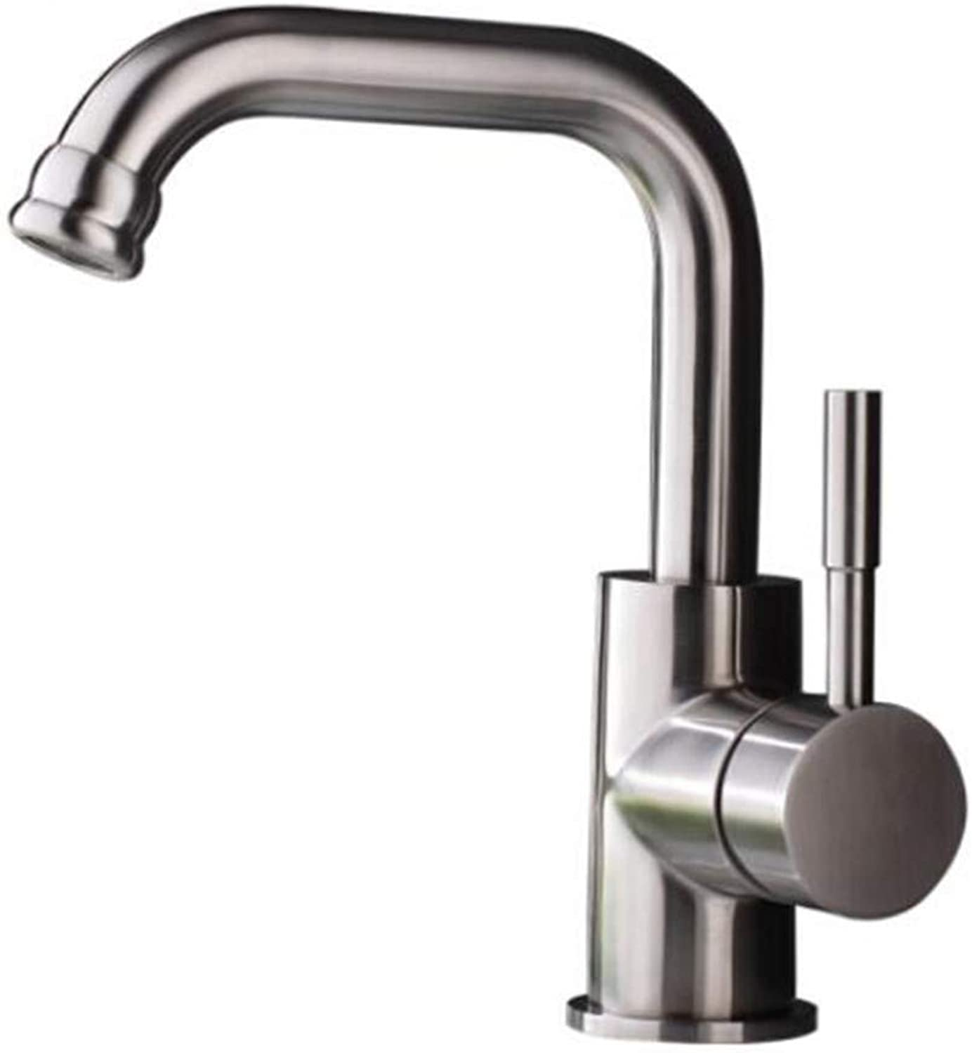 Faucet Waste Mono Spoutstainless Steel Basin Faucet Bathroom Bathroom Above Counter Basin Washbasin Washbasin Single Hole Hot and Cold Water Faucet Wire Drawing