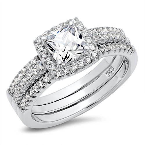 Metal Factory 925 Sterling Silver Cushion Cubic Zirconia CZ 2Pc Halo Wedding Engagement Ring Insert Set (8)