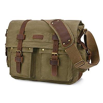 Kattee Military Messenger Bag Canvas Leather Shoulder Bag Fits 15.6 Inch Laptop