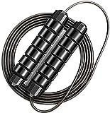 Springseil Premium Speed Jump Rope Sport Seilspringen Verstellbare Stahlseil mit Profi Kugellager & Hautfreundlichen Griff - Fitness, Boxen, Training, Abnehmen für Kinder und Erwachsene(Schwarz)
