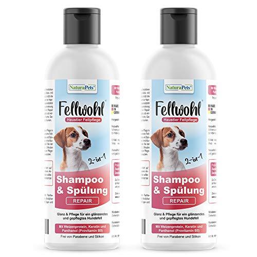 NaturaPets Fellwohl® Hunde Shampoos Plus Conditioner (2x190ml) für alle Hunderassen (Repair) - Mit Weizenprotein, Keratin und Panthenol (Provitamin B5) im Doppelpack