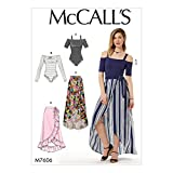 McCall Patterns Misses' Off-The-Shoulder Side Tie Bodysuits and Wrap Skirts