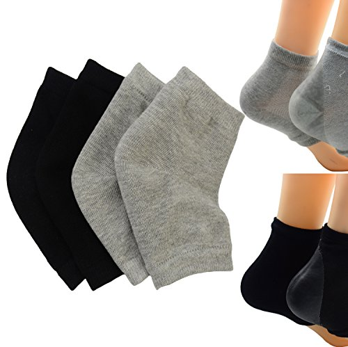 Makhry 2 Pairs Moisturizing Silicone Gel Heel Socks for Dry Hard Cracked Skin Open Toe Comfy...